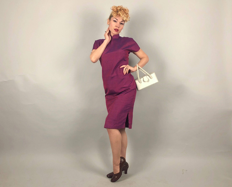 Jahrgang 1950 Kleid 50er Jahre Magenta Pink lila und blau | Asian ...