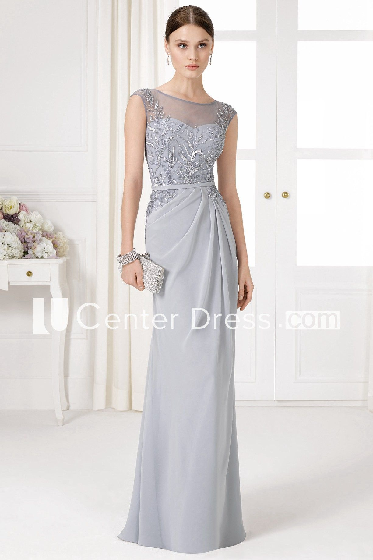 073ccdfef238 Floor-Length Sheath Bateau Neck Sequined Cap Sleeve Chiffon Prom Dress - UCenter  Dress