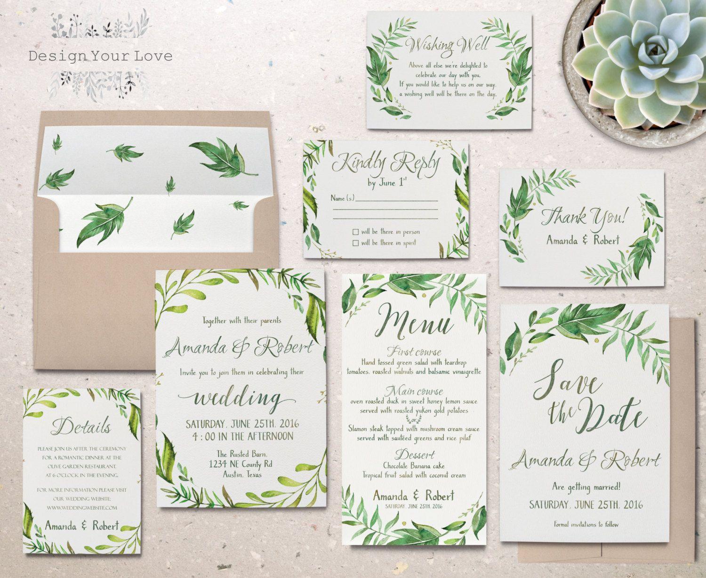 Druckbare Grun Hochzeit Einladung Suite Grune Von Designyourlove