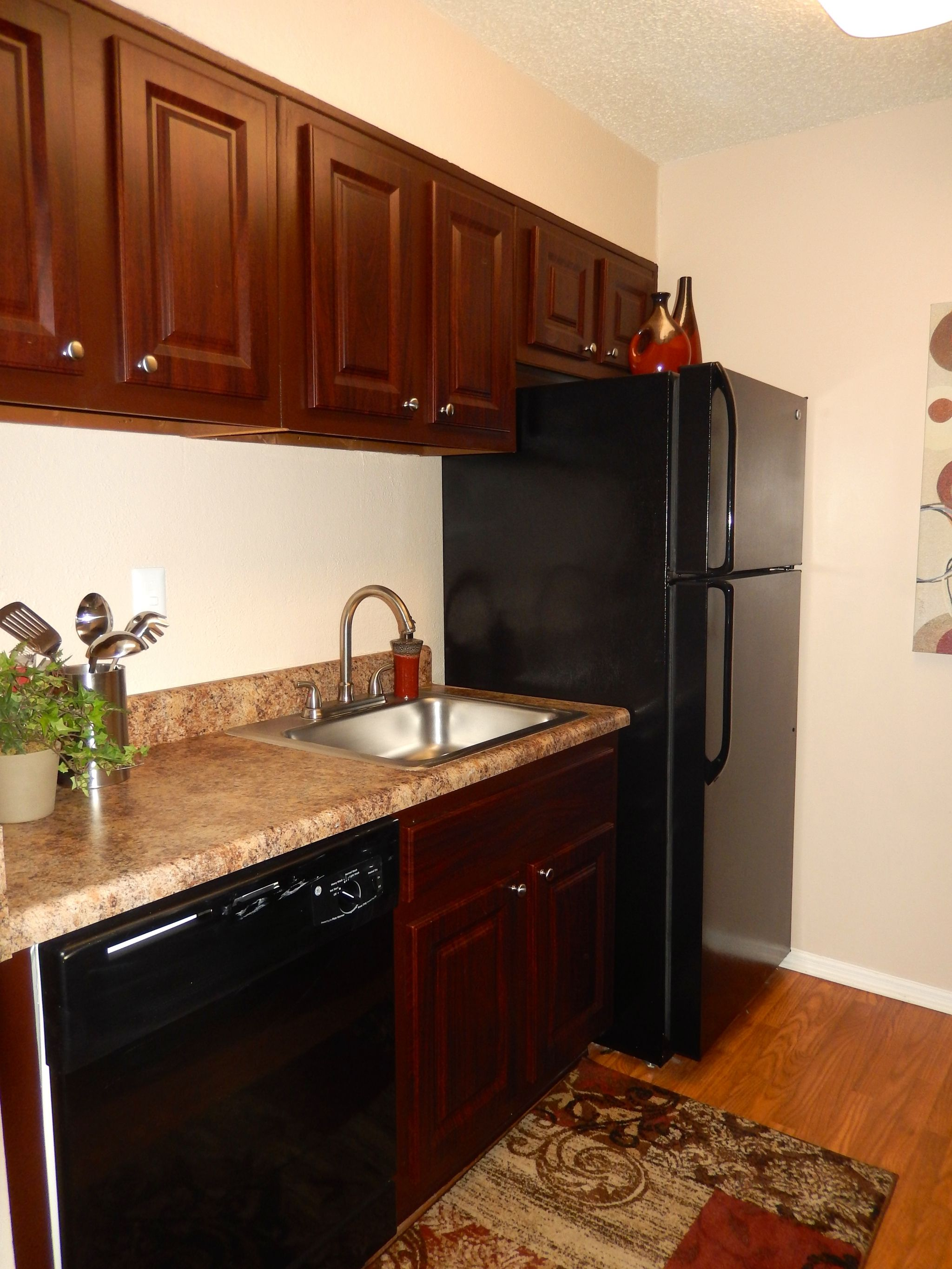 Kitchen with new cherry wood and black