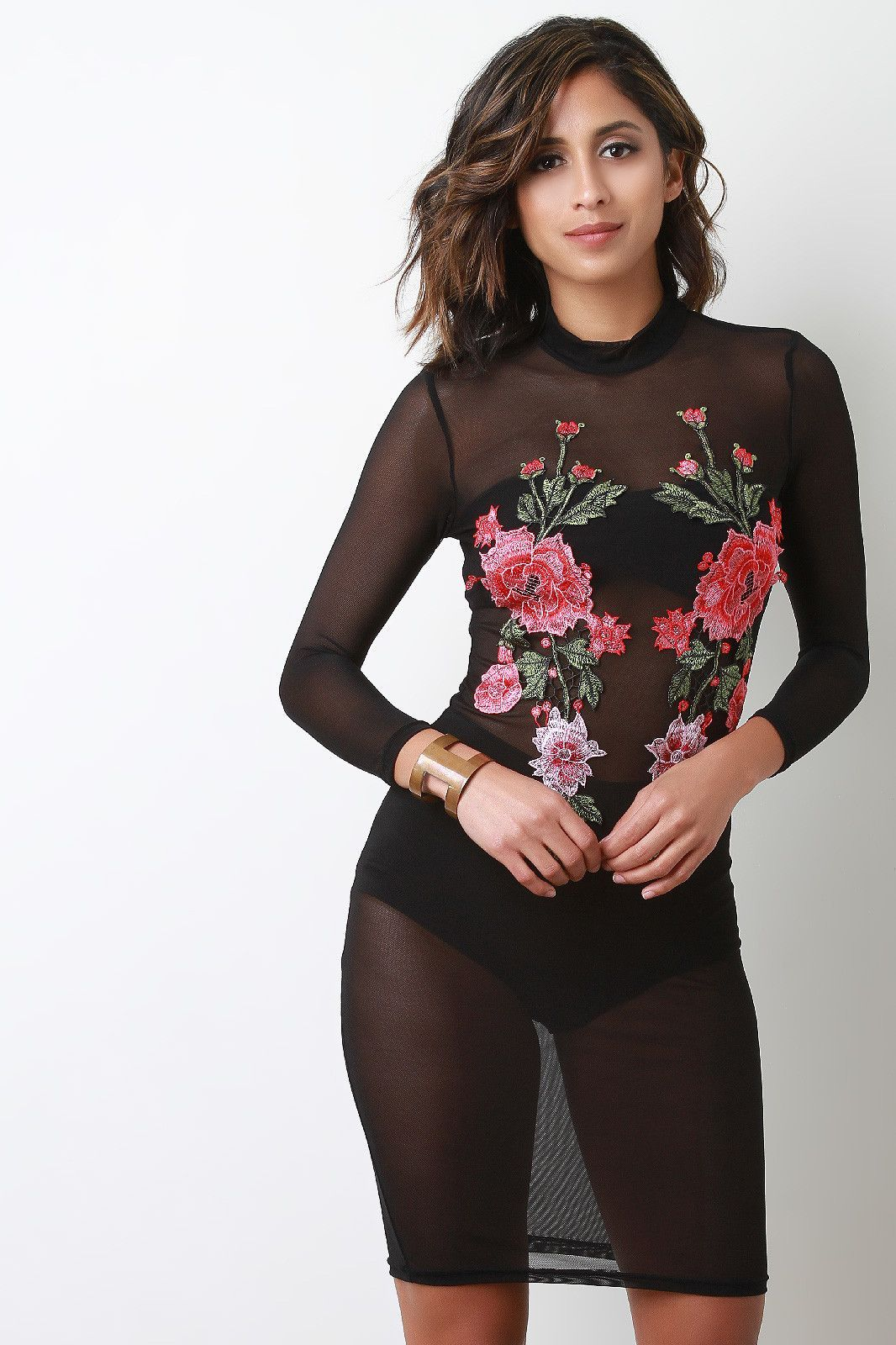 Mock neck long sleeve mesh floral embroidery midi dress embroidery