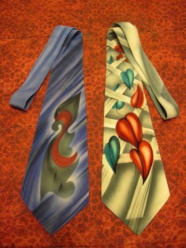 Vintage 40s 50s Silk Hand Painted Ties 2 Ties