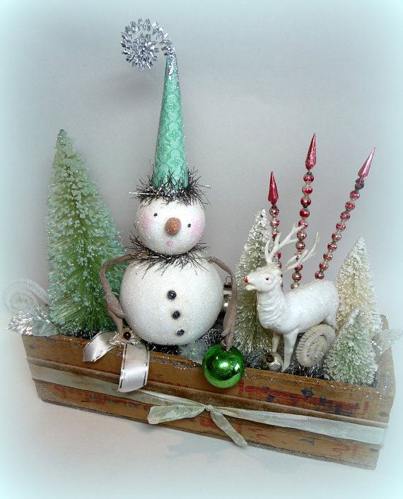 Vintage Inspired Snowman and Vintage Reindeer in Antique Wooden Cheese Box with Bottlebrush Trees Folk Art Christmas Decoration