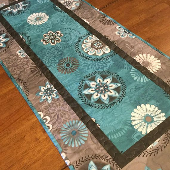 Charmant Teal And Gray Quilted Table Runner, Quilted Table Runner, Modern Table  Runner, Teal Kitchen Decor, Teal And Gray, Table Runner Quilt