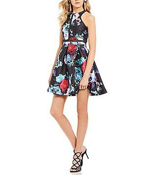 f6b411d6e082a Dear Moon Floral Print Fit-And-Flare Dress | Charmaine Spring Formal ...