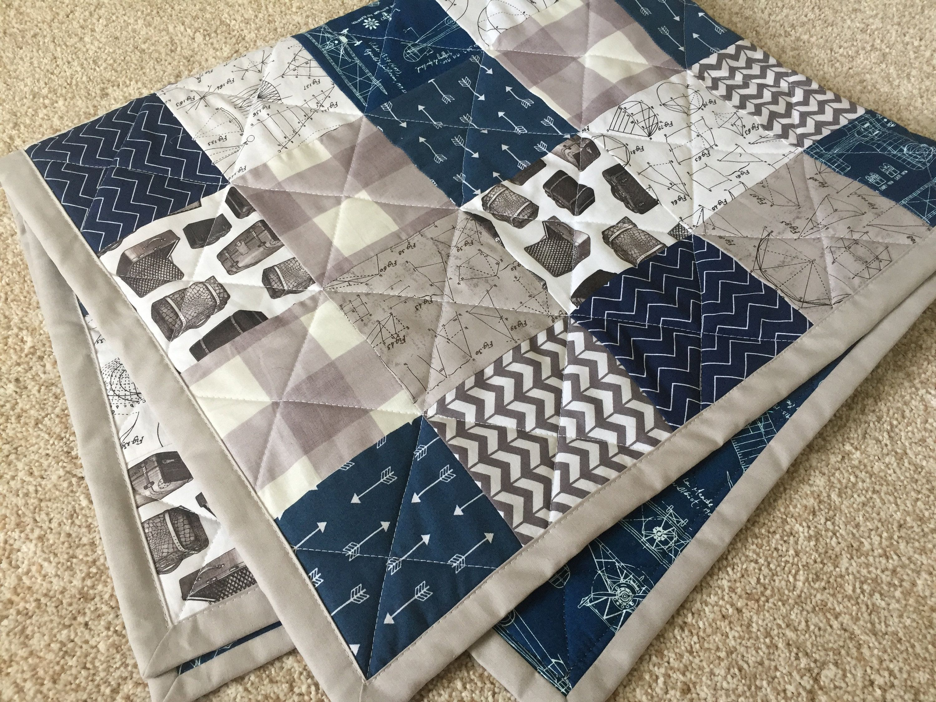 Ready To Ship Baby Quilt Crib Blanket Navy Marine Blue Gray Etsy Baby Quilts Quilts Navy Blanket
