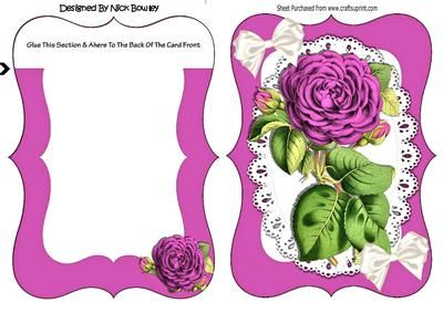 Pretty pink roses on lace bracket card on Craftsuprint designed by Nick Bowley - Pretty pink roses on lace bracket card, with blank insert , adhere to the back of the insert a lovely quick card can be seen in other designs - Now available for download!