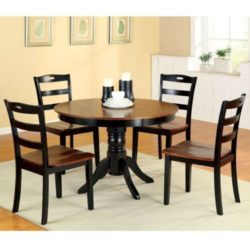 Johnstown Antique Oak Black Finish 5Piece Round Dining Table Set