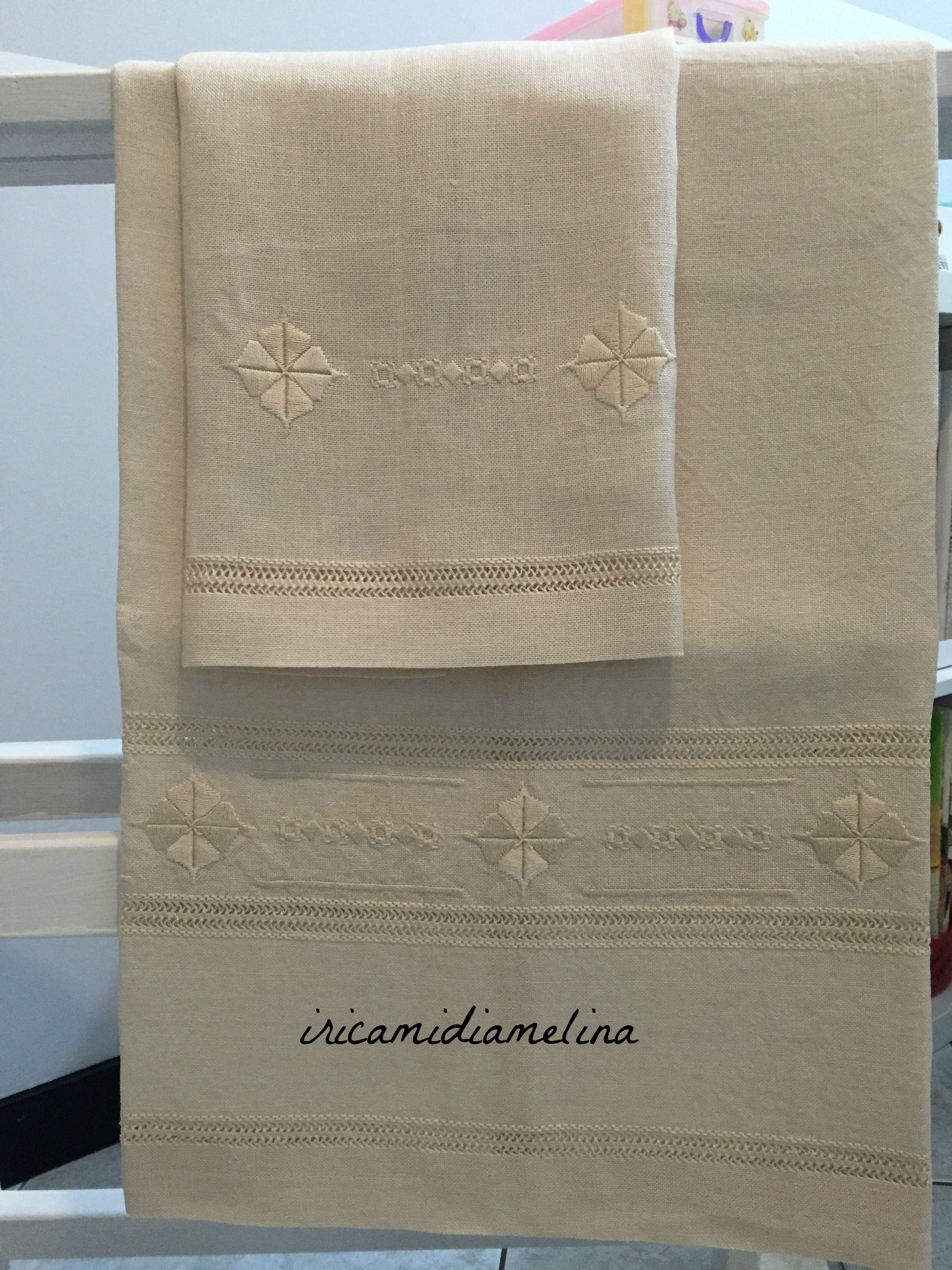 Eccezionale Asciugamani in lino F.lli Graziano ricamati a Punto Antico  VA78