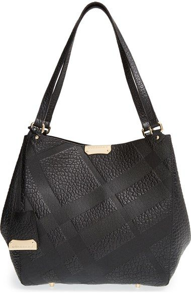 7023baeeb252 Burberry  Small Canterbury - Grain Check  Leather Tote available at   Nordstrom