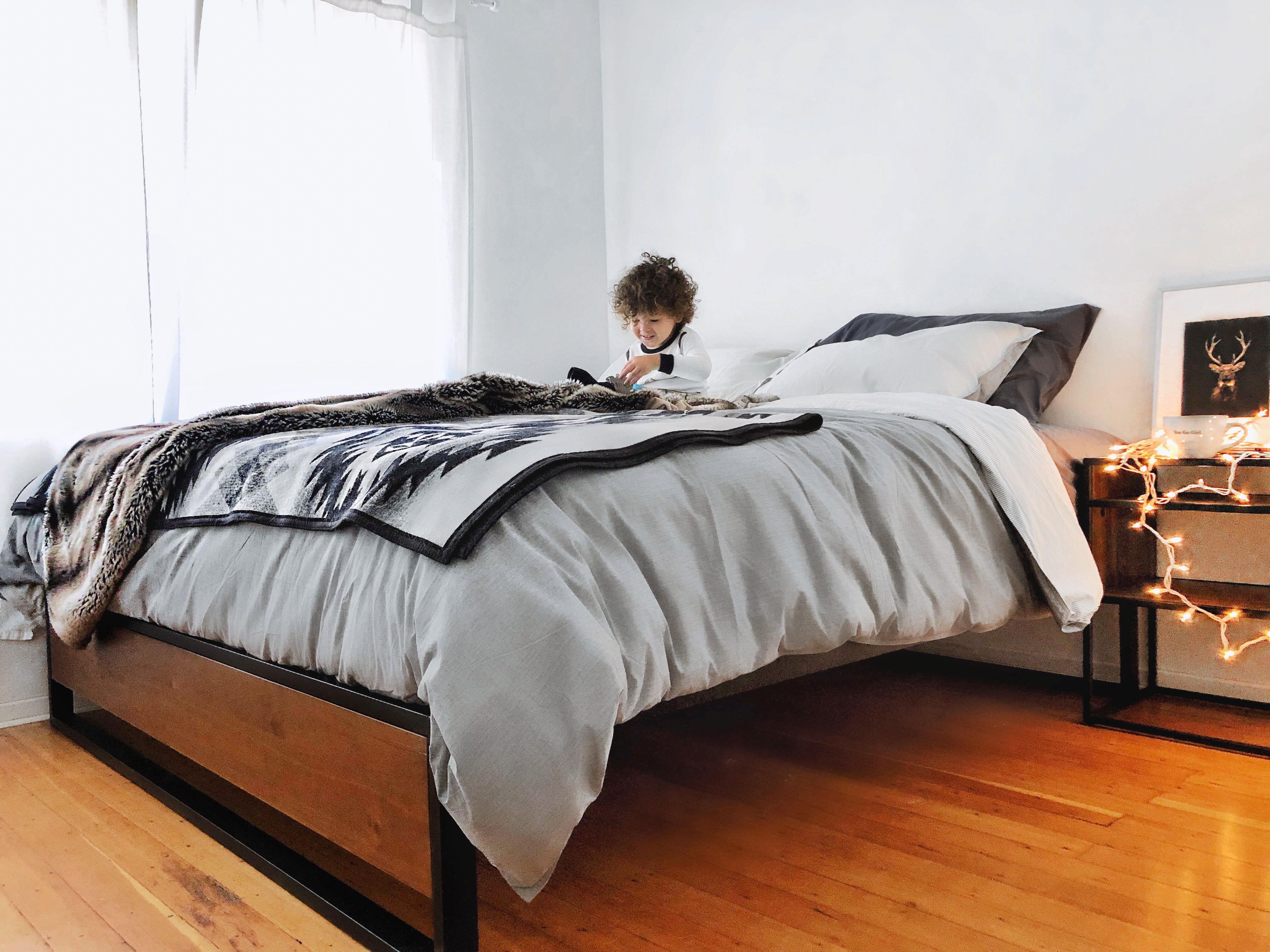 Metal and Wood Platform Bed Frame with Cozy designs Wood