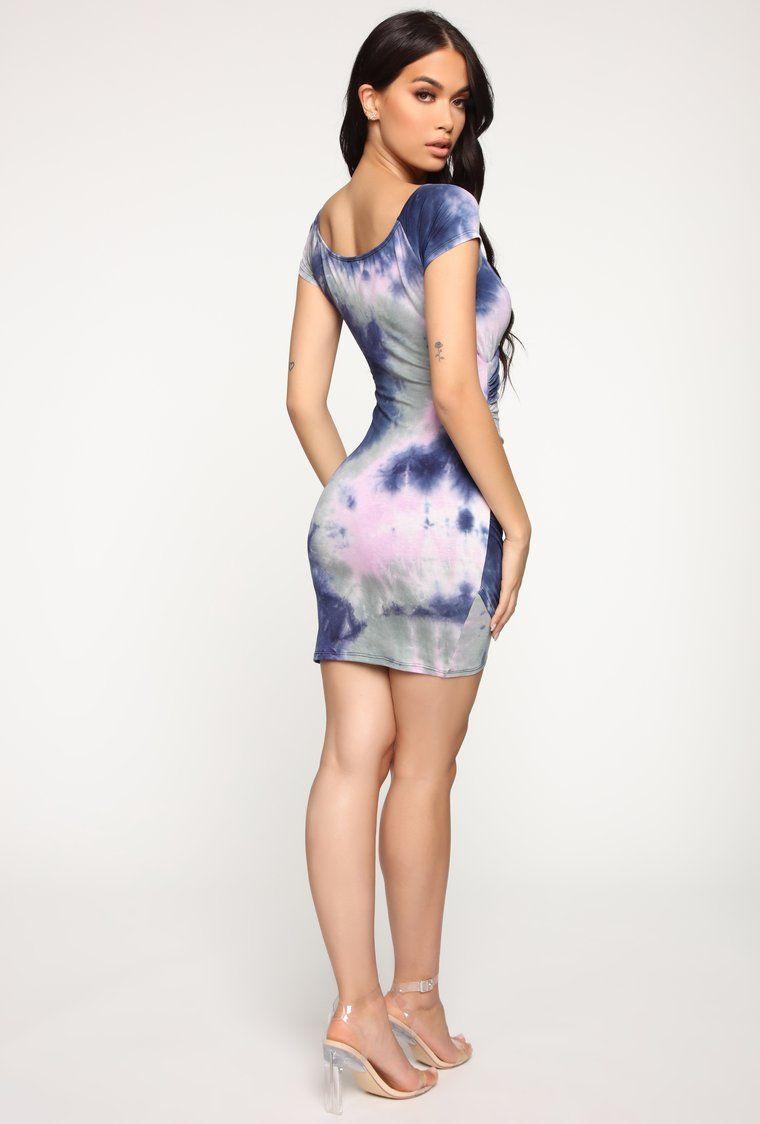 Between The Tides Tie Dye Dress Lavender/Grey