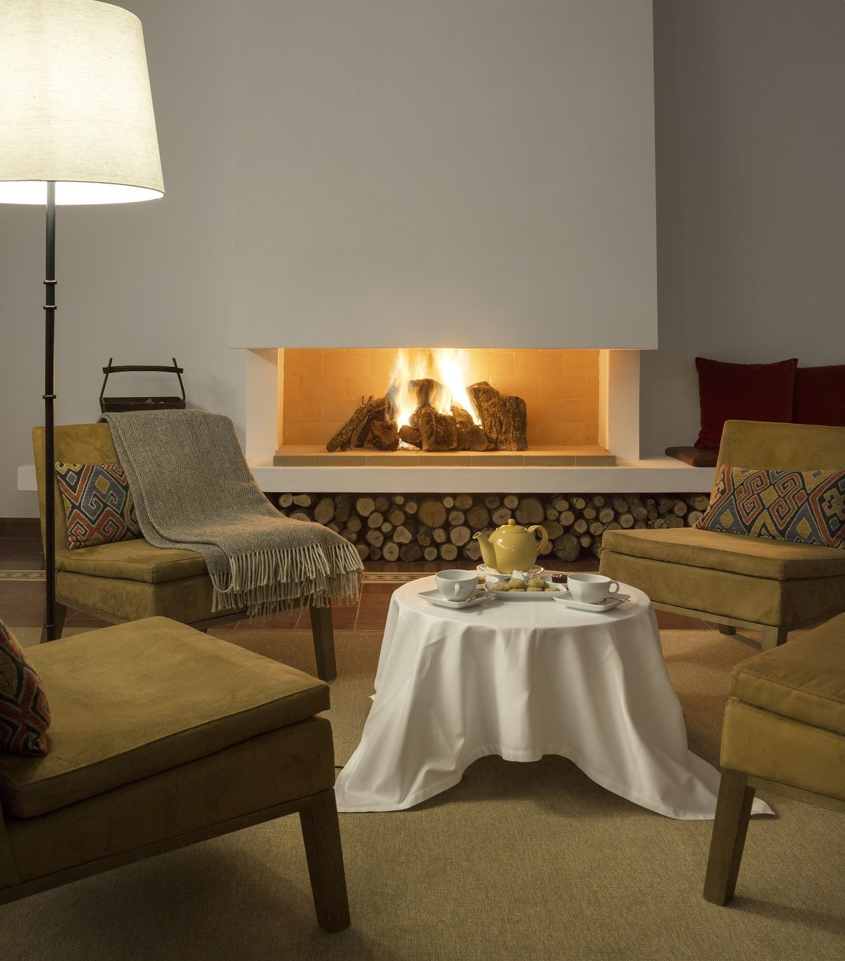 Cozy tea room with fireplace
