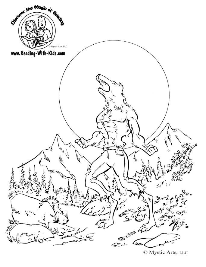 halloween wolfman werewolf coloring page - Halloween Werewolf Coloring Pages