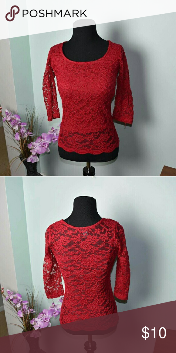 ON HOLD Gorgeous Red Lace Top In excellent condition Tops Blouses