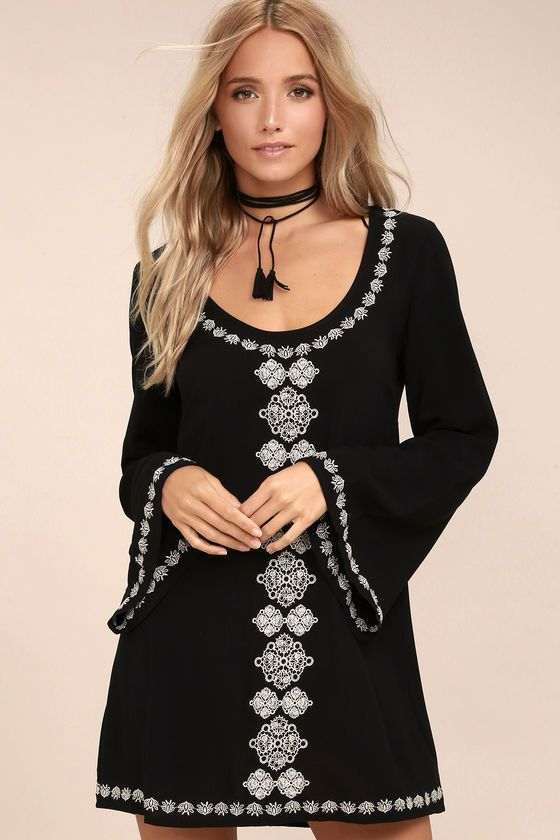 205e65b930 The Manzanillo Black Embroidered Long Sleeve Shift Dress has sparked our  interest! White Boho embroidery embellishes this lightweight woven dress