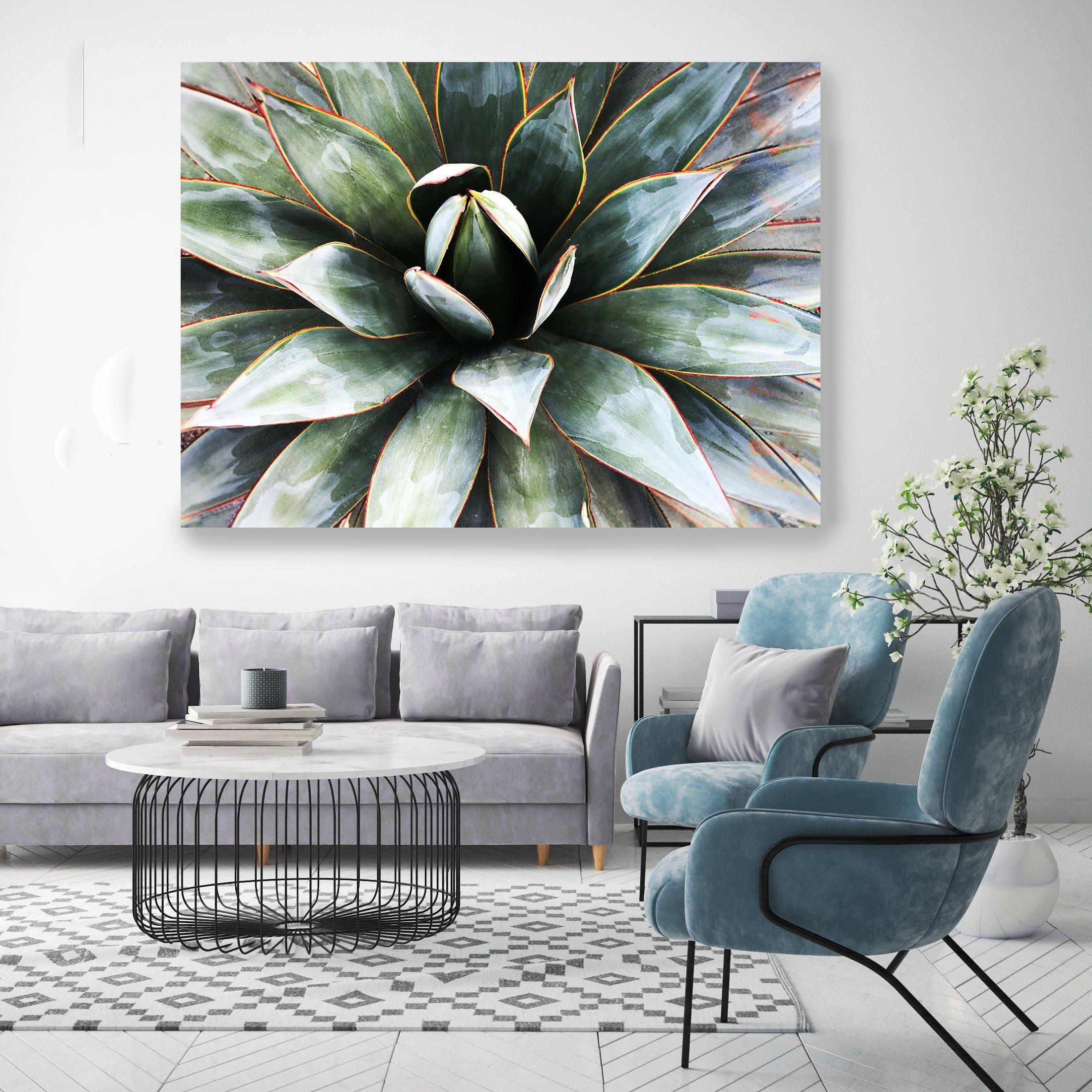 Agave Heart 2 1 Succulent Wall Art Pale Green Canvas Prints Etsy Succulent Wall Art Tropical Wall Decor Succulent Wall