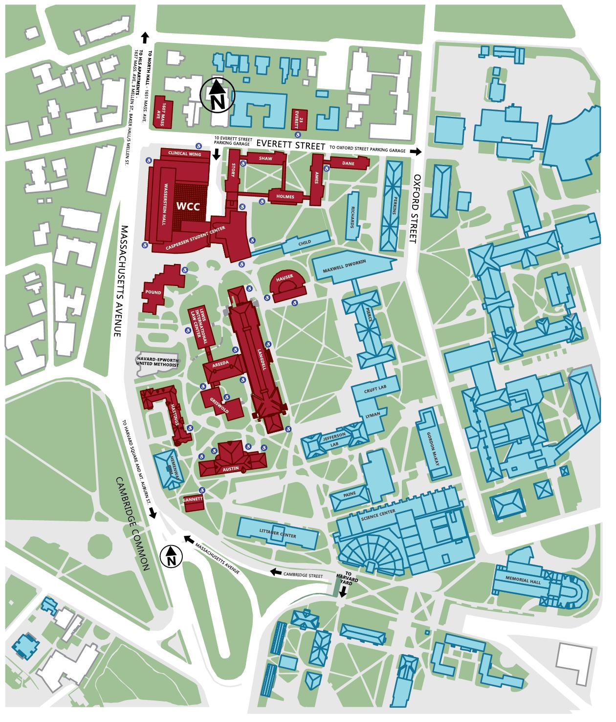 Harvard University Campus Map Harvard campus map from hls 1