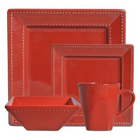 10 Strawberry Street Nova Beaded Square 16-Piece Dinnerware Set, Red ...