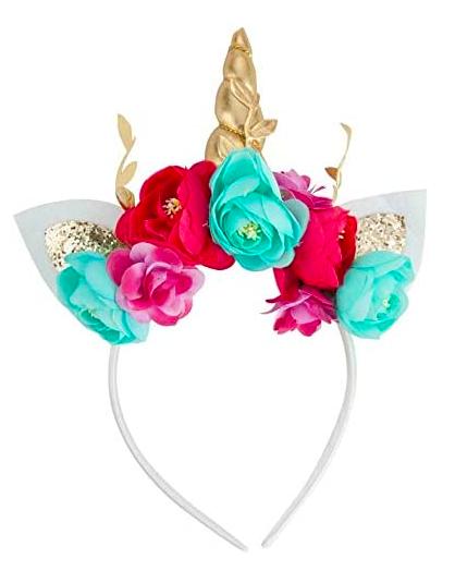 طوق يونكورن للبنات Rose Flower Headband Flower Ear Unicorn Headband