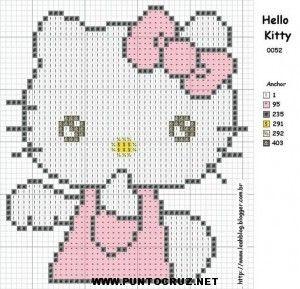hello kitty en punto de cruz  Buscar con Google  bordado en