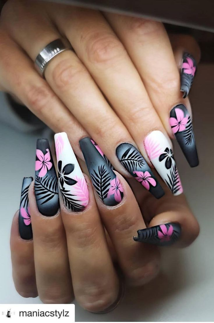 Coffinnails 50 Coffin Nails Designs Trends Nail Art Ideas 2019 Page 21 Of 58 Hairstylesofwomens Com Coffin Nails Designs 3d Nail Art Designs Floral Nails