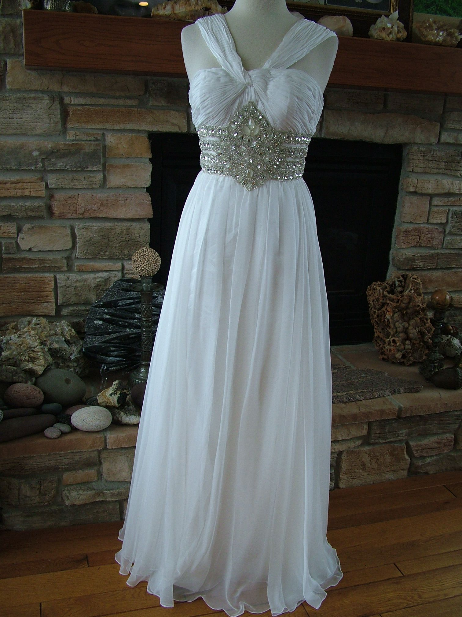 Wedding dress Chiffon 60\'s Style Goddess Gown Rhinestone Encrusted ...