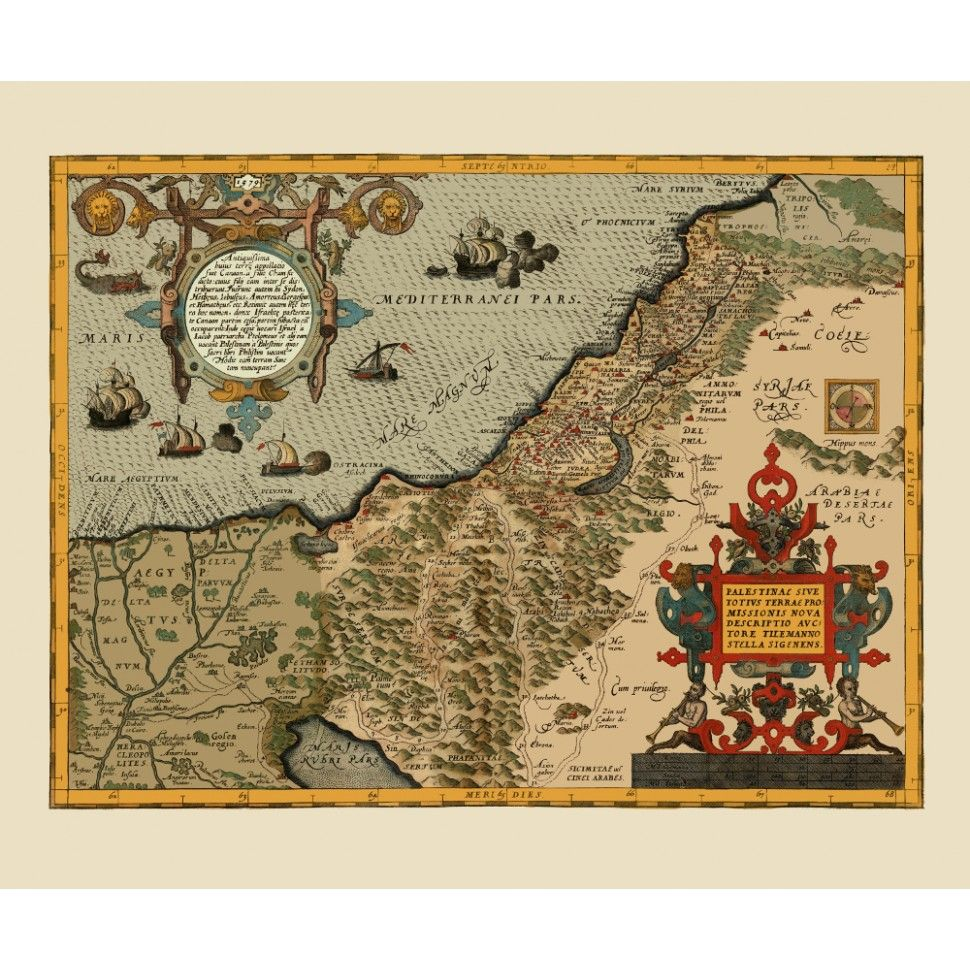Palestine and Northern Egypt Vintage Map for