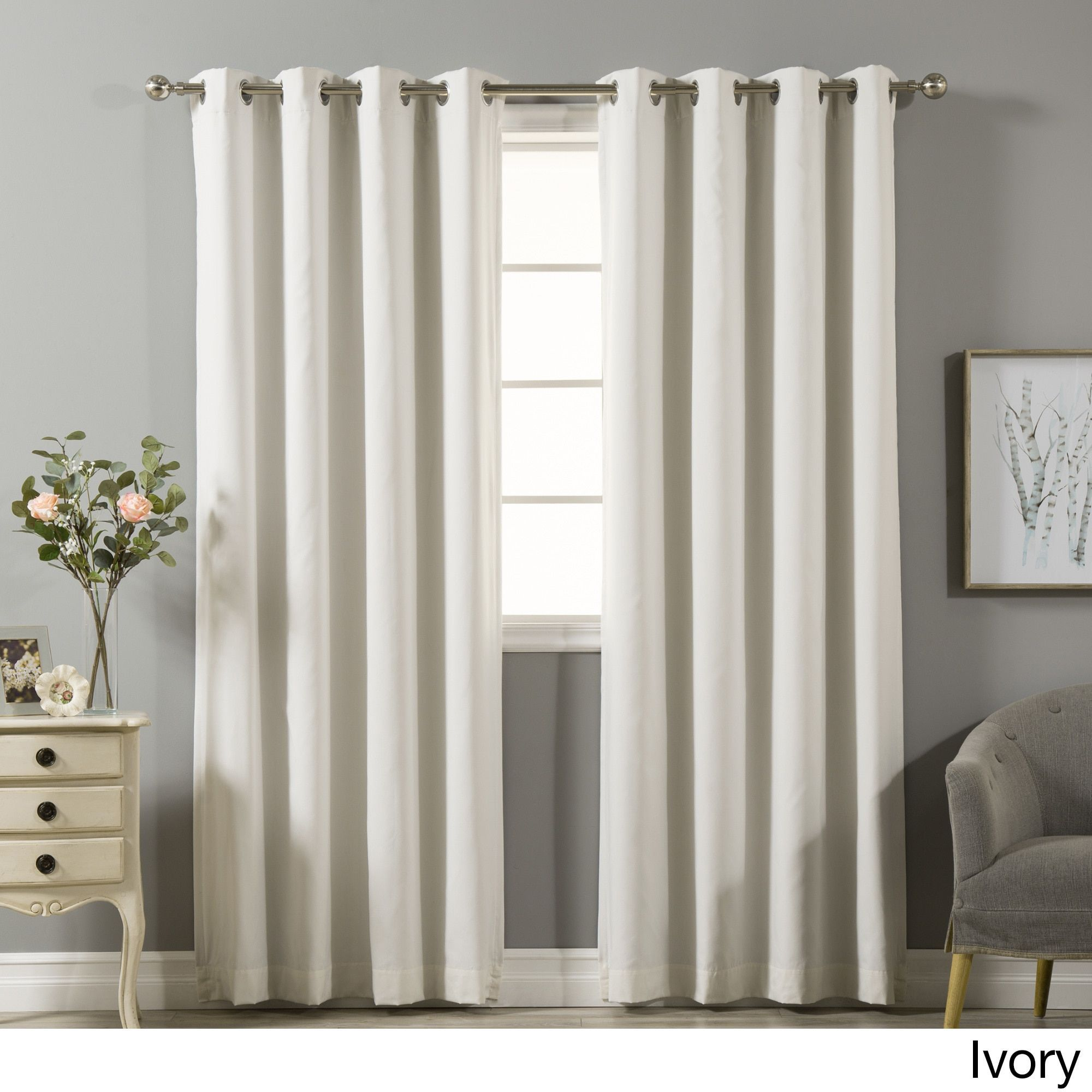 Aurora Home Blackout Silver Grommet Curtain Panel Pair