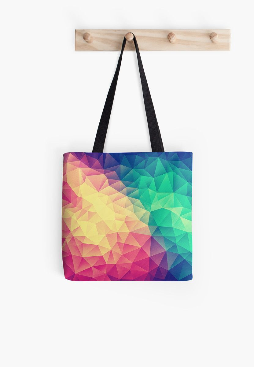 64aa54b8 Abstract Polygon Multi Color Cubism Low Poly Triangle Design   Tote ...