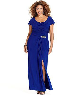 Patra Plus Size Flutter Sleeve Jewel Gown Plus Size Dresses Plus