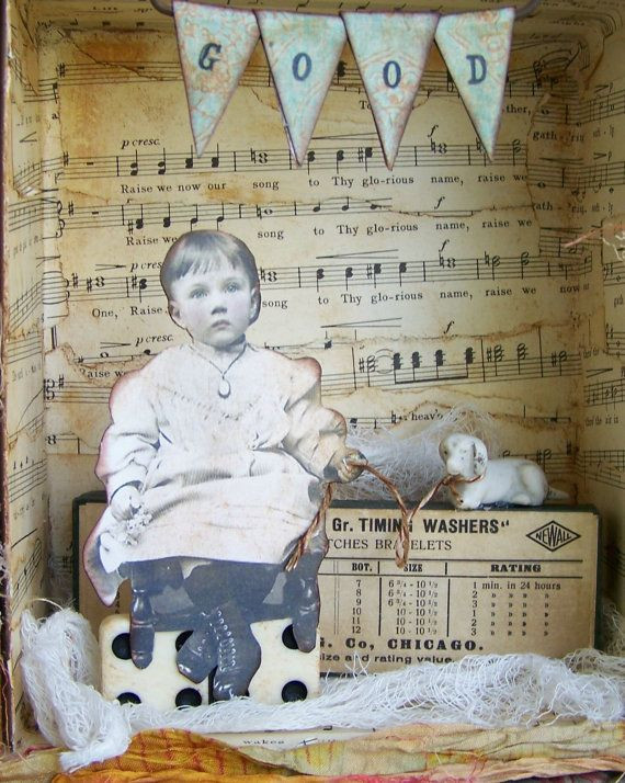 Vintage Mixed Media Shadowbox Assemblage Vintage by QueenBe, $52.00