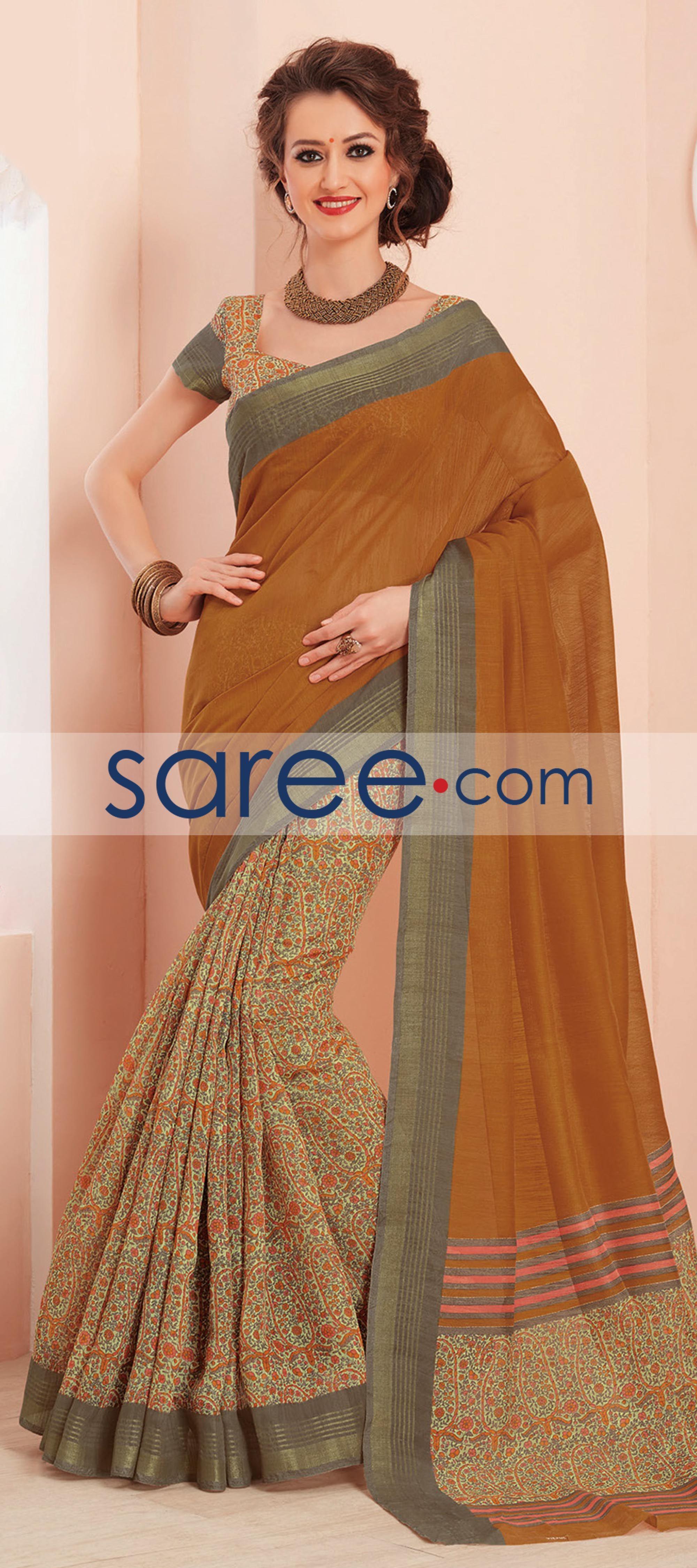 Modern saree models mustard and cream bhagalpuri silk printed saree saree