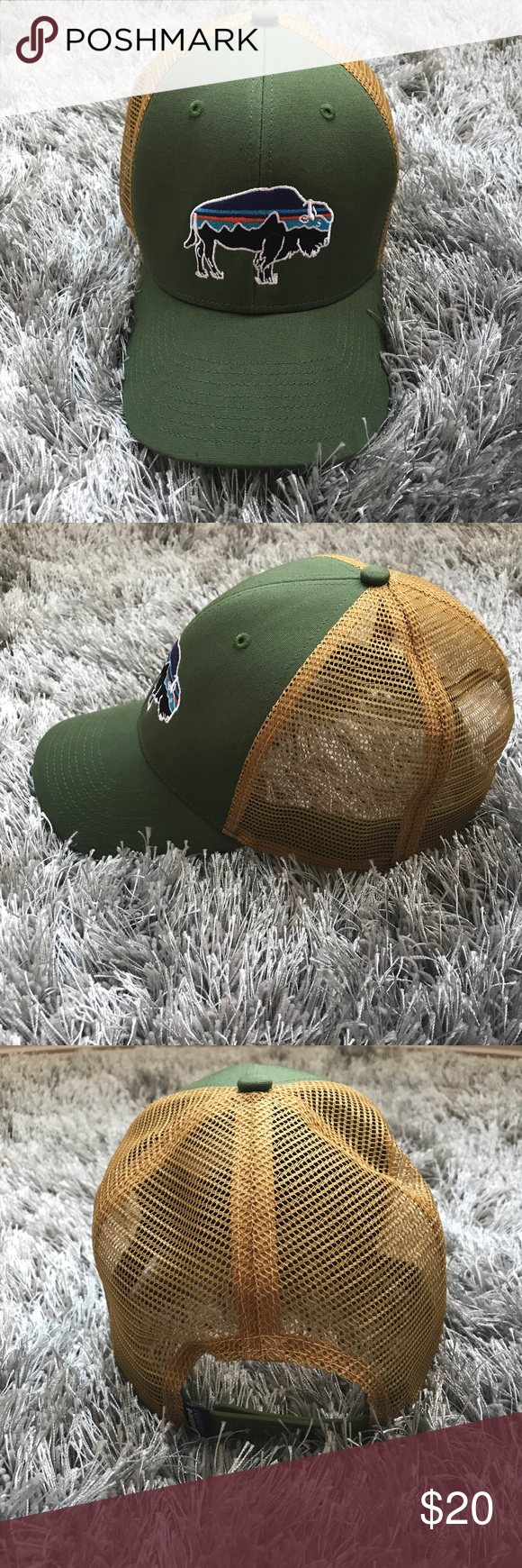 NWOT Patagonia Fitz Roy Bison trucker hat NWOT Patagonia Fitz Roy Bison  trucker hat. Color is buffalo green. Durable cotton hat with m… 7cf32391148e