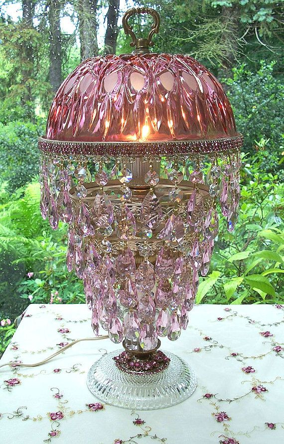Antique Pink Glass And Crystal Lamp What A Beauty Victorian