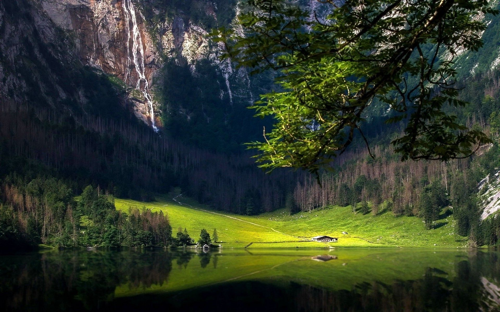 Landscape Nature Lake Mountain Forest Trees Grass Germany Cabin Reflection Waterfall Wallpaper And Background Landscape Nature Grass Field