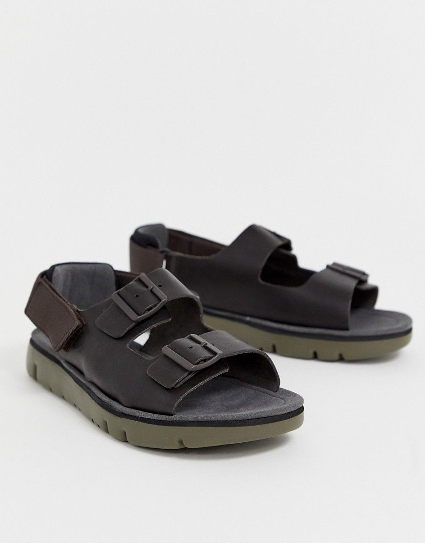 Camper Oruga Leather Chunky Sandal In Brown Brown Modesens