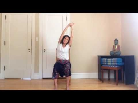 chair yoga for spinal health and stretching the back body