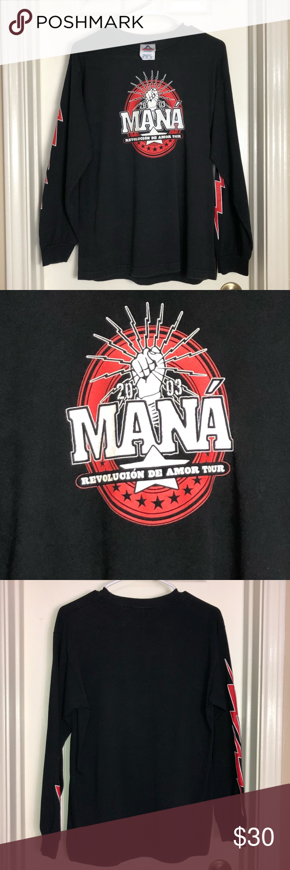 "Vintage 2003 Mana Tour Long Sleeve Shirt- Size Med Vintage 2003 Mana ""Revolucion de Amor"" Tour Long Sleeve Shirt- Size Medium   Pre-owned. Great condition - some fading- normal wear use.   100% Cotton   Chest- 19 1/2"" Length- 26"" Sleeve- 21 1/2"" Shoulder- 18""  *All measurements are approximate and taken with clothing lying flat   *Lighting May change the color slightly based on photography light, flash or viewing on different screens or monitors  *Smoke & Pet Free Environment   379-191 Shirts Tees - Long Sleeve"