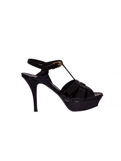 SAINT LAURENT Patent Tribute Sandals. #saintlaurent #shoes #sandals