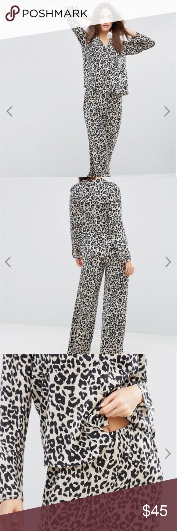 99bca3c0d8 ASOS Natural Leopard Print Satin Pajama Set NWOT ASOS Natural Leopard Print  Satin Long Sleeve Shirt