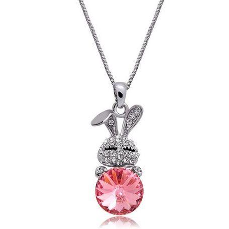 Swarovski Crystal Pink Pendant Rabbit Necklace Chain