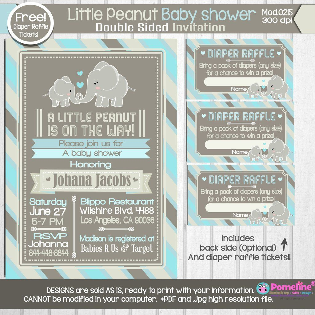 Baby Shower Diaper Raffle: Copy Of PRINTABLE Little Peanut Baby Shower Invitation