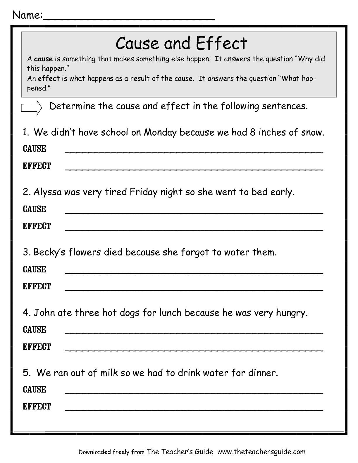 Cause And Effect Worksheets Google