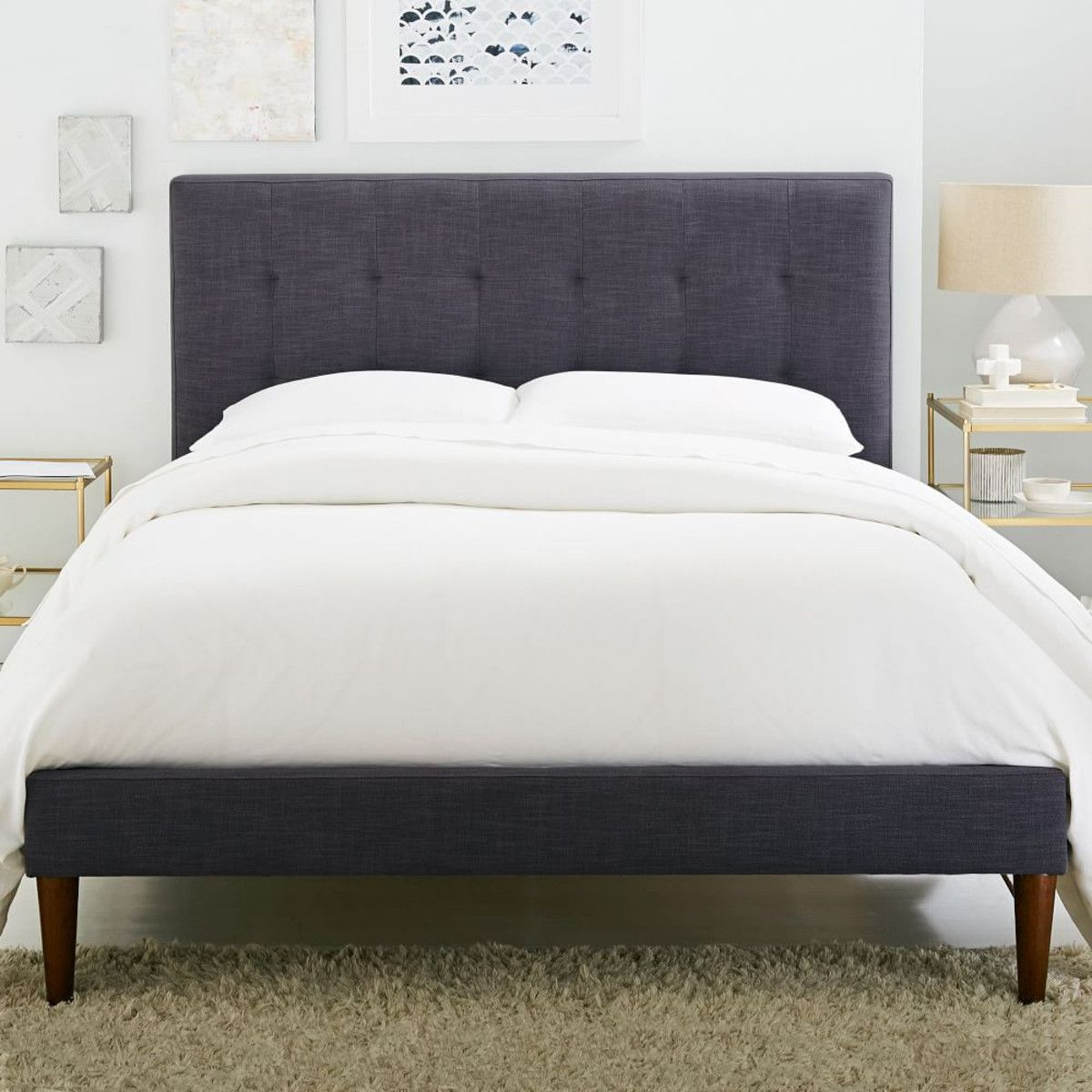grid tufted upholstered tapered leg bed steel grey sleep