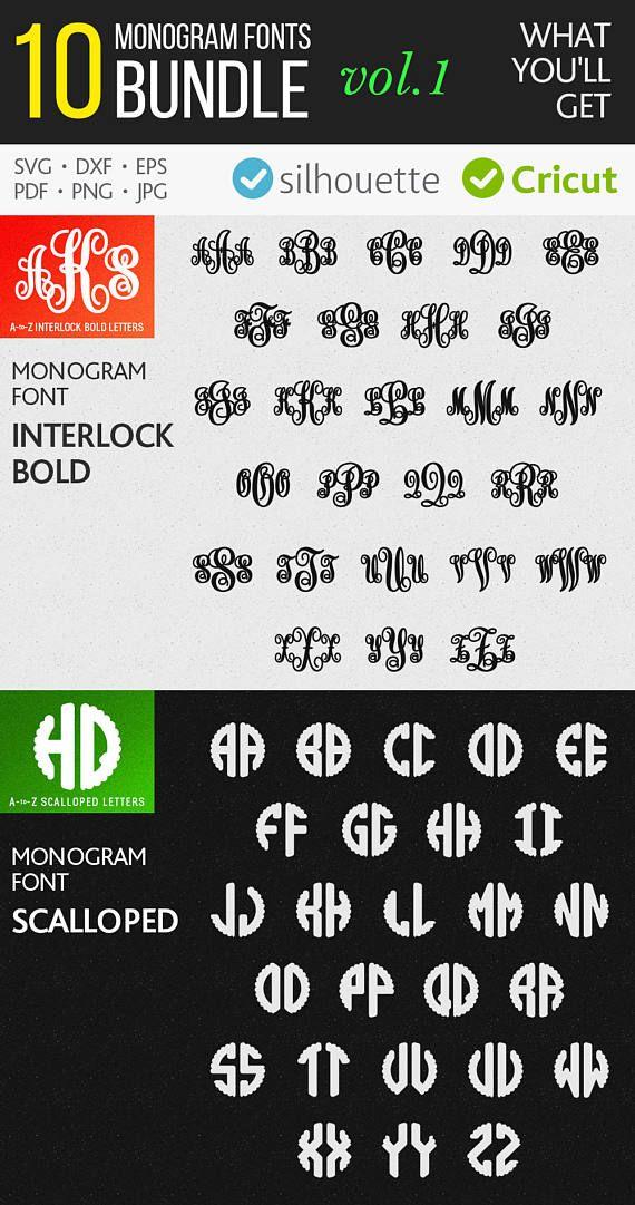 Monogram Fonts Bundle N1 Svg Dxf Monogram Font Svg Cut Files