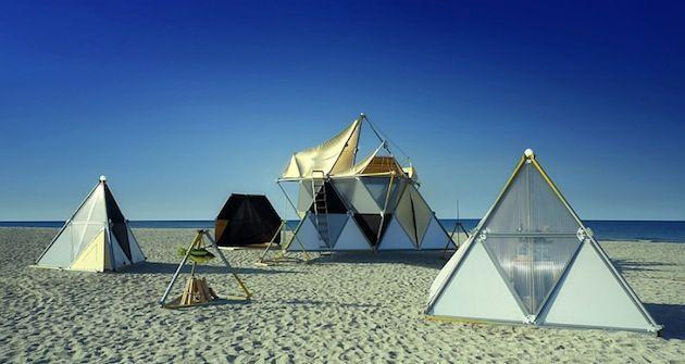Tetrahedrons Prefab Shelters : Tetrahedron tent architecture geometry