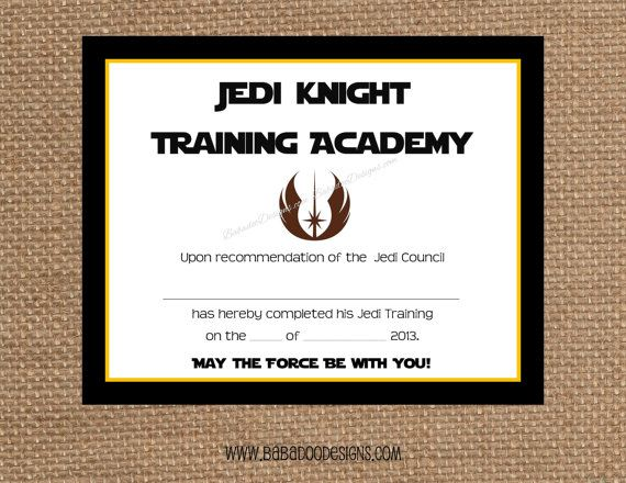 Jedi training certificate instant download full service printing jedi training certificate instant download full service printing and personalization available yadclub Image collections