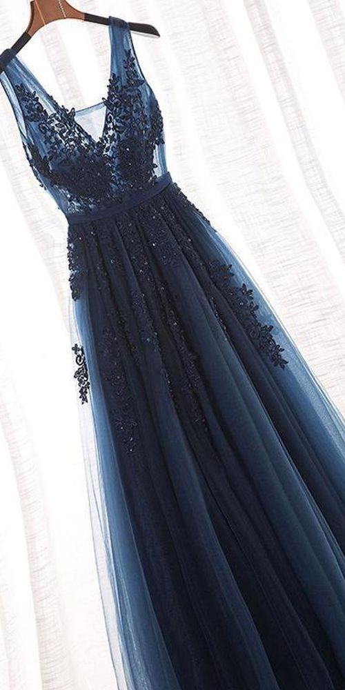 Navy Blue Lace Appliques V Neck See Through Backless Long Prom Dresses Formal Dress Gowns LD1677 #Laurashop #promdresses #prom #dresses #2019prom #formalprom #navyblue #navyprom