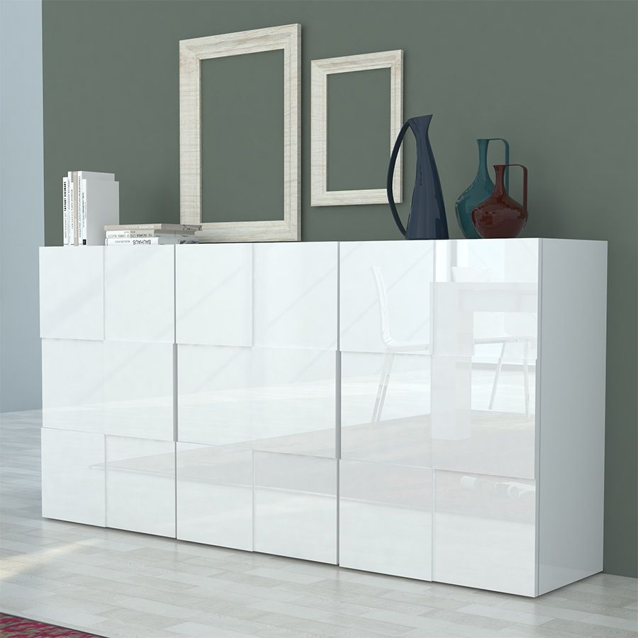 Bahut design 3 portes blanc laqué NOVELA | Buffet - Bahut ...